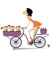 pretty young woman a bike and babies isolated vector image