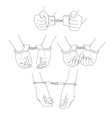 Man hands with handcuffs vector image