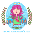 greeting card for Valentines day with a sweet vector image