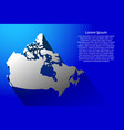 abstract map of canada with long shadow on blue vector image