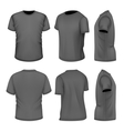 All six views mens black short sleeve t-shirt vector image