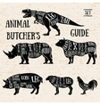 Butchery shop animal set vector image