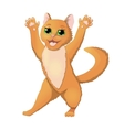 Cartoon cat raising hands vector image