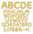 gold alphabet numbers and signs vector image