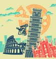 italy attractions background vector image
