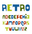 retro font colorful letters style of the 70s vector image