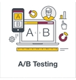 Thin line flat icon concept banner for AB testing vector image