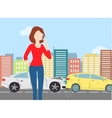 Woman calling after car crash in the city vector image
