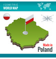 isometric map and flag of the poland officially vector image