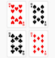 Playing Cards Showing Tens from Each Suit vector image vector image
