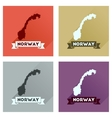 Concept flat icons with long shadow Norway map vector image