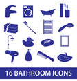 bathroom icons set eps10 vector image