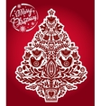 Christmas tree with holiday folk style elements vector image