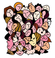 Female concept - many faces and expression vector image