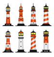 lighthouse set flat style on white background vector image