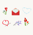 set of different elements for romantic postcard vector image