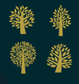 Set of gold Tree symbol isolated on dark backgroun vector image