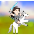 woman warrior on a horse vector image