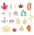 Set of various stylized autumn leaves and elements vector image