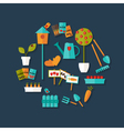 Gardening icons set over dark blue vector image