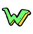 comic cartoon letter W vector image
