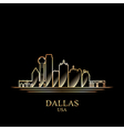 Gold silhouette of Dallas on black background vector image