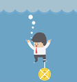 Drowning businessman with dollar coin chain on his vector image