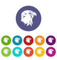 eagle set icons vector image