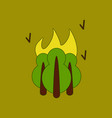 flat icon on background fire in the forest vector image