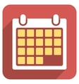 Month Calendar Flat Rounded Square Icon with Long vector image