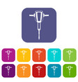 Pneumatic plugger hammer icons set vector image