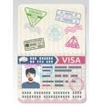 Open custom passport with visa stamps Business vector image