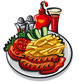 ketchup and sausages vector image