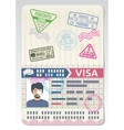 Open custom passport with visa stamps Business vector image
