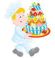 Pastry cook with a cake vector image