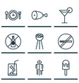 set of 9 food icons includes no drinking stop vector image