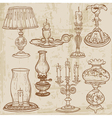 Set of vintage lamps and candles vector image