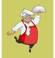 cartoon happy chef dancing bears dish vector image