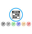 2016 date rounded icon vector image