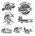 Vintage pike fishing emblems and logos vector image vector image