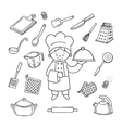 Kitchener tools white and black icons set vector image