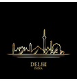 Gold silhouette of Delhi on black background vector image vector image