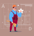 cartoon builder wearing uniform and helmet vector image