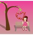 Cartoon girl with hearts vector image