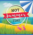 hot summer time text banner design vector image