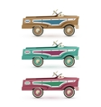 Set of three vintage toy pedal car vector image vector image