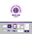 Music headphones logo vector image
