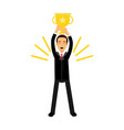 businessman standing and holding winner golden cup vector image