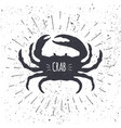 hand drawn crab icon in black and white color with vector image