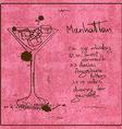 Hand drawn Manhattan cocktail vector image